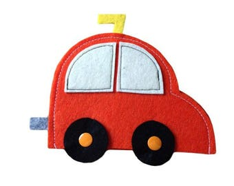 Pouch Tut Toooot! Small storage cars - felt - snap closure