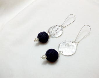 Handmade earrings in silver with lava stone (variety of colors)