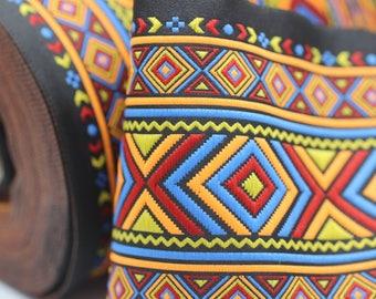 100 mm Colorfull African Motif Ribbon (3.93 inches) -  Vintage Jacquard - African Pattern Ribbon - Sewing Trim - Huge Trim - Large ribbon