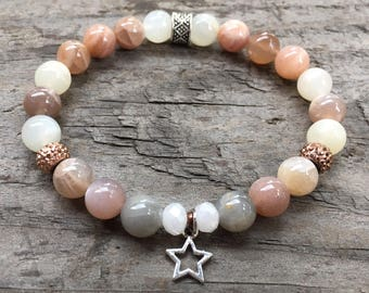 Star with Peach Moonstone bracelet