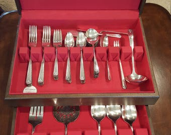 1945 Bordeaux Silverplate Flatware Set by Prestige Plate With Chest 51 Pieces