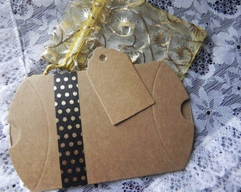 COMPLETE gift WRAPPING KIT: a box + 1 sachet organza + tag measuring 9 cm x 7 cm