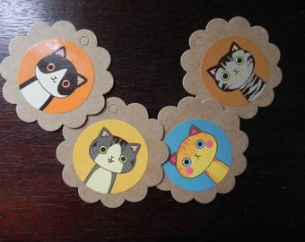 dentellees and 12 cats kraft round labels