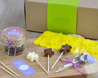 Choc creations: Star Lollipops Kit, Star lollies, Christmas stars, birthday favours, chocolate star silicone plastic mould, own name gift,