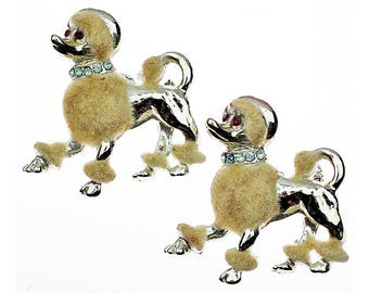 Vintage Poodle Pin, Poodle Brooch, Rhinestone Poodle, Flocked, Fuzzy, Furry, Aqua Rhinestone, Silver, White, Mid Century, Scatter Pin, Pair