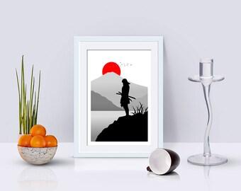 Japanese Samurai Landscape Wall Art, Japan, Minimalist Art Print, Living Room Decor, Home Decor, Modern Art, Mount Fuji, Black And White
