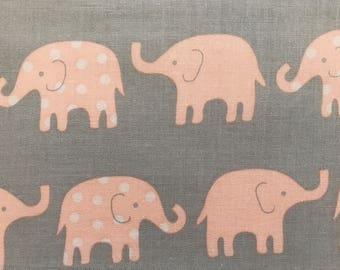Elephants Fabric, Peach elephants on Gray Fabric, Fabric by the yard, Fat Quarter, Quilting Fabric, Apparel Fabric, 100% Cotton Fabric, B-3