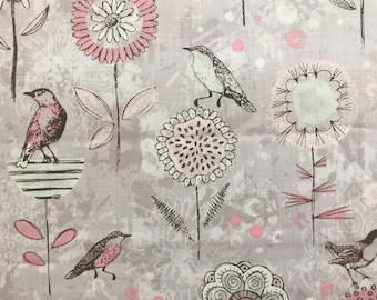 Bird and Floral Fabric, Dainty Birds Fabric, Fabric by the yard, Fat Quarter, Quilting Fabric, Apparel Fabric, 100% Cotton Fabric, B-5