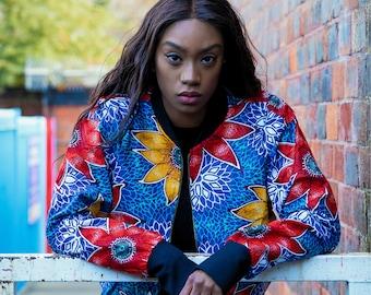 African Bomber Jacket - Wax Bomber - African Jacket - Wax Print Jacket - Festival clothing - Festival Jacket -  Winter Jacket