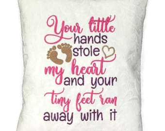 Nursery Sayings Pillow - Embroidered Baby Pillow - Girls Nursery Pillow - Children's Pillow - Baby Girl Decor