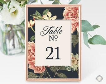 Wedding Table Numbers, Table Numbers, Floral Table Number, Burgundy Wedding, Rustic Wedding Decor, Table Number Card, Instant Download, #VCS