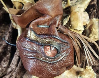 Dragon Dice Bags  with a Stunning Hand Painted Glass Cabochon Dragon's Eye and Holds 42 Dice.