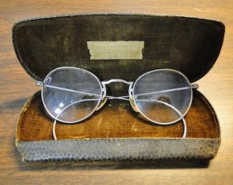 Vintage Gold Filled Eyeglasses - Glasses W/ Case - Silver Tone -  GF 1/10 - 12K Gold - Dr H Rosenberg Vandalia IL - Nice Find!