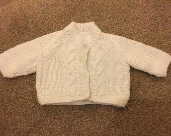 Hand Knitted Newborn White Cardigan