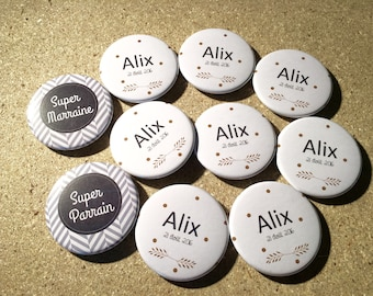 Set of 10 Magnetic badges - christening