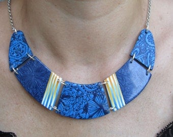 Blue polymer clay bib necklace.