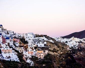 Santorini Sunset - Pink Wall Art - Fine Art Photography - Santorini Print - Sunset Photography - Home Decor - Santorini Dusk - 0146