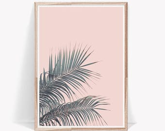 Leaf Print,Tropical Print,Wall Art,Dorm Decor,Palm Leaf Print,Tropical Decor,Pink,Art Prints,Wall Art Prints,Tropical,Leaves,Digital Prints