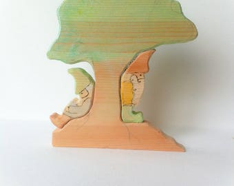 Tree gnomes. Waldorf Wooden play set.