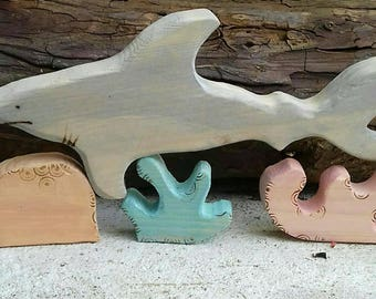 Wooden shark toy