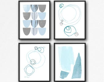 Nursery Wall Art, Abstract Print, Blue and White Wall Art Prints, Giclee Prints, Modern Nursery Decor, Blue Nursery Art, Set of 4 Prints