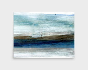 Blue Horizon Abstract Watercolor Print, Abstract Art Print, Minimalist Painting, Scandinavian Print, Framed Wall Art, Abstract Painting