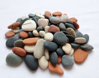 Tiny pebbles, mini pottery pieces polished by the sea, multi-colored pebbles. Perfect set for Mosaic or tables (100pcs).