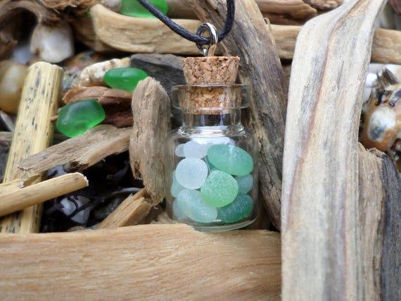 verre de mer en flacon flacon bijoux bijoux verre de mer. Black Bedroom Furniture Sets. Home Design Ideas