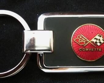 Corvette C3 Black Onyx & Silver Keychain-Free Engraving