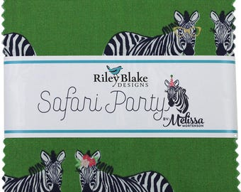 "Safari Party 5"" Stacker (Charm Pack) by Melissa Mortenson for Riley Blake (42 5"" Squares) - 5-6500-42 quilting precut green zebra"