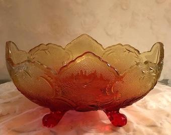 Winter Sale Vintage JEANNETTE GLASS LOMBARDI footed Amberina Fruit Bowl