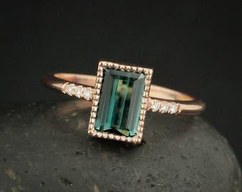 Dark Green Tourmaline Engagement Ring - Emerald Cut Green Tourmaline