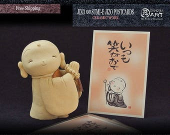 Zen Spirit Ceramic Jizo and Printed Sumi-e Jizo Japanese Paper Postcards (Set of 10 Cards), Free Shipping