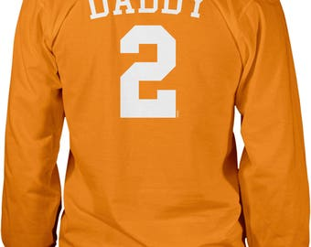 Back Print, Daddy 2, Jersey Number Design, Happy Father's Day Men's Long Sleeve Shirt, NOFO_01283