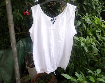 White cotton top with lace up back