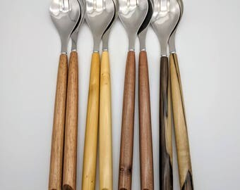 Salad Servers with Tasmanian Timber handles. Paired, with stainless steel spoon and spork heads.