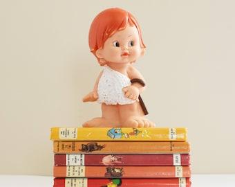 Vintage Squeaky toy  - Vintage Plastic Girl - Child's room Decor -  1950's - 60's Era