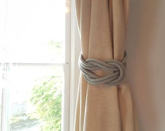 Light grey Cotton Rope Double Square Knot Nautical Curtain Tie-Backs/ Shabby Chic Curtain hold-Backs / Nursery Window Treatment / Rope Ties