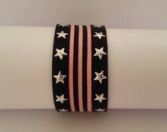 Black and pink suede Cuff Bracelet