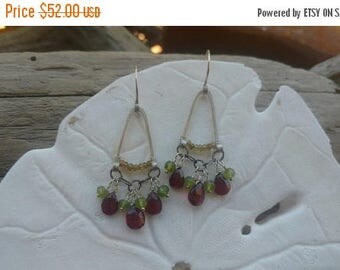 Summer Sale Pomegranate, Apple and Pistachio Gemstone Chandelier Earrings