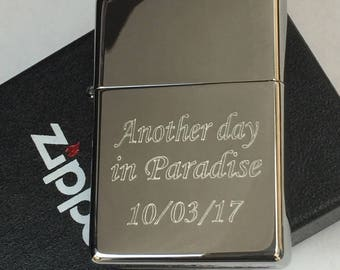 HIGH POLISH CHROME Personalized Zippo Lighter Monogramed • Engraved Lighter