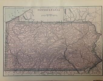 1915 Pennsylvania Map - Beautiful Old Map of Pennsylvania - Small Antique Map - Vintage Atlas Map - 5x7