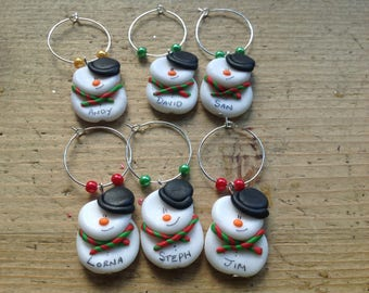 6 snowman wine glass charms personalised Christmas Xmas dinner table