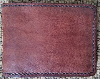 Soft Rustic TwoToned Leather Wallet, Slim BiFold Leather Wallet, 6 Card Slots/2 Pocket Leather Interior, Hand Saddle-Stitched