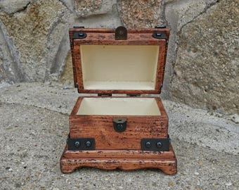 wooden jewelry box , wood watch box , rustic memory box , reclaimed wood