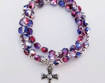 Red / Silver / Blue Plated Czech Glass Rosary Bracelet