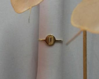 ring thin gold plated circle pattern