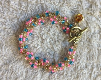 Make it Pink! Make it Blue! Beaded Bracelet