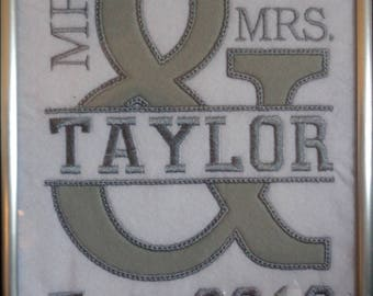 Mr & Mrs Wedding Applique/Embroidery