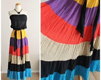 Vintage 70's DOTTI of California Light Gauze Layered Skirt Tube Top sundress Dress Hippie Boho Large XL XXL Tent